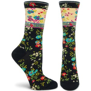 Mona Linen Black Floral Socks | Milwaukee Art Museum Store