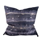 Navy & Silver Feather Pillow